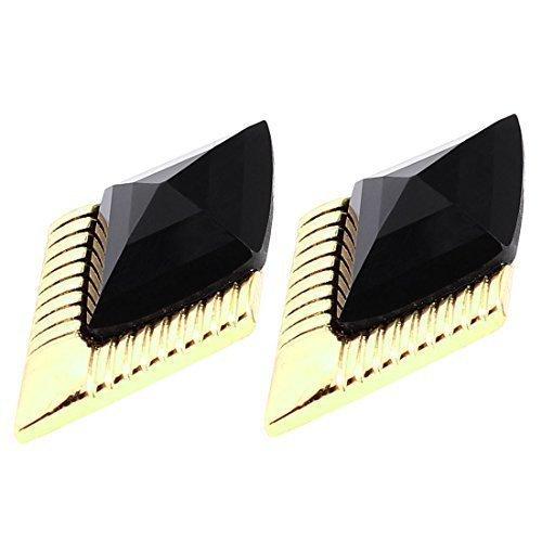 Black Faceted Bead da donna, con dettaglio a forma di coppia di orecchini a perno, motivo a rombi