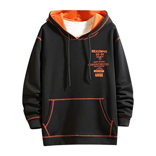 Xmiral Sweatshirt Herren Camping Outdoor Tops T-Shirt Herbst Winter Kapuzenpulli Pullover Camping Outdoor Streetwear Oberteile(c Schwarz,L)