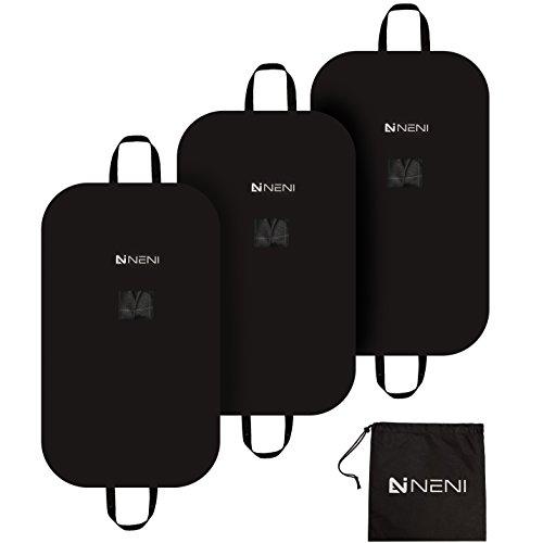 NENI Kleidersack 3er Set inkl. Schuhbeutel - Premium Kleiderhülle mit Sichtfenster für Anzug, Kleid und Hemden - Atmungsaktive Business Reise Anzugtasche - Hochwertiger Anzugsack mit Reißverschluss in 100 x 60 cm