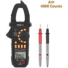 Tacklife CM01A Avanzado Pinza Multímetro para medida amperímetro ohmímetro con corriente y voltaje CA/CC, 4000 cuentas, ciclo de trabajo, prueba de diodo, auto o manual alcance