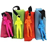 4 piezas de paracaidista tiro de la mano del hombre con grandes paracaídas al aire libre Los niños vuelan juguetes (rosa, amarillo, naranja, azul)