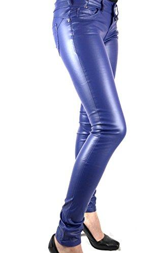 Blue Rags Kunstlederhose Damen blau Slim fit Größe 34