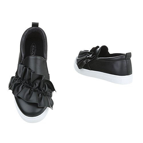 Ital-Design Sneakers Low Damenschuhe Sneakers Low Moderne Freizeitschuhe Schwarz G-26