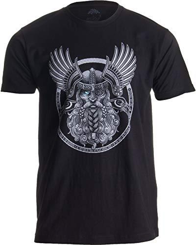 Ann Arbor T-shirt Co. Motivo Vikingo para Amantes de la mitología nórdica - Odín en Valhalla - Camiseta para Hombre Peque–o Negro - Pequeno - S