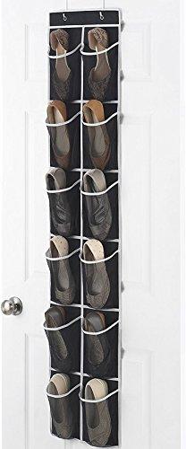 Zober schmal über die Tür Schuh-Organizer mit 12 Mesh-Taschen, über der Tür Organizer ideal für Zubehör, Toilettenartikel, Wäsche-Artikel, schwarz mit weißen Trim. 12