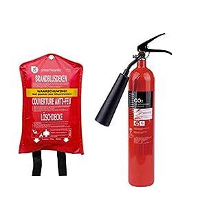 Handlicher CO2-Feuerlöscher 2kg, Brandklasse B - rückstandslos Löschen + Löschdecke 100x100 cm - Brandschutz