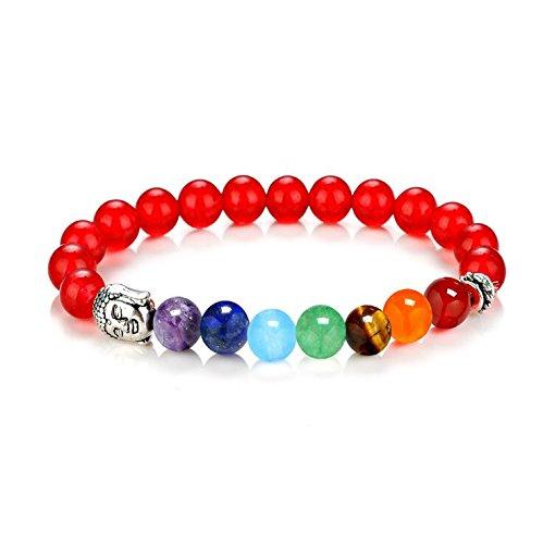 Zygeo - 7 Chakra Armband Healing Charm Energie-Armb?nder Handgelenk Buddha Perlen Stein Yoga Armband Chakra Schmuck der Frauen der M?nner [rot]