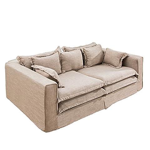 XXXL Sofa CLOUD sand Leinen Stoff Hussen 230cm Couch Big