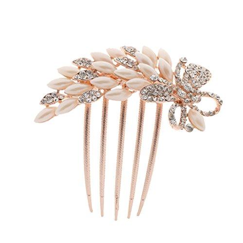 Sharplace Damen Perlen Stass Blume DIY Braut Hochzeit Haarkamm Haarschmuck - style ein