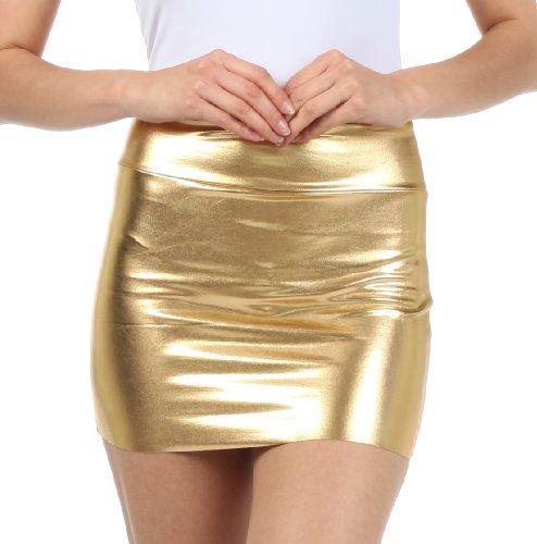 Sakkas 6924 Frauen Shiny Metallic Liquid Mini-Rock - Gold - Kleine Gold-metallic-rock