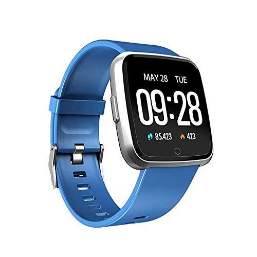 Lfsp Smart Uhr, Tracker Fitness Mit Touch Screen, Blutdruck, Aktivität Tracker Herzfrequenz Schlafmonitor Kalorienzähler, Wasserdicht, Geeignet for IOS Android (Color : Blue)