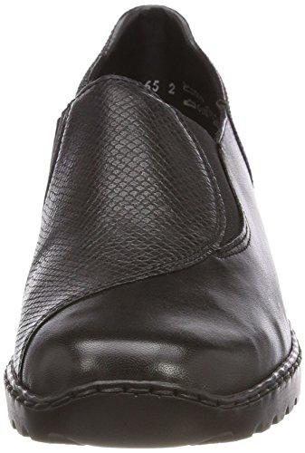 Rieker L6064, Mocassins Femme Noir (Schwarz/noir-argent)