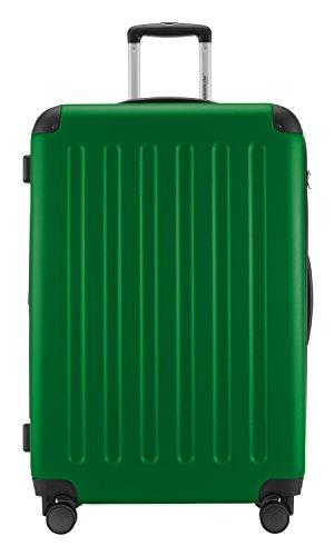 HAUPTSTADTKOFFER® 128 Liter XL Reisekoffer · SPREE · TSA · MATT · NEU 4 Doppel-Rollen · (in 12 Farben) + LogiLink® Flugzeug Audio Adapter (Cyan Blau) Grün