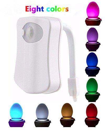 Geepro Lampada Notturne Igienici Bagno LED Luce di Notte Sensor Rivelatore PIR 8 Cambiamento di Colori per Sedili WC Ufficio Facilità di Bagno WC Lavabo Creativo Regalo per Nonna Famiglia