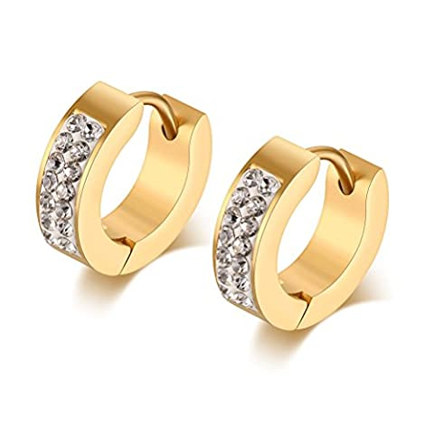 Vnox Männer Edelstahl Diamant Akzent Huggie kleine Band Ohrringe,18K Gold (Diamante Dell'elefante Collana)