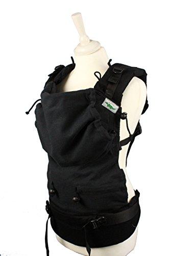 Buzzidil Babytrage Black Canvas - mitwachsende Tragehilfe für Babys und Toddler - STANDARD 3-36 Monate   Bauchtrage, Rückentrage & Hüftsitz   Fullbuckle mit Schließen ohne Binden - Canvas Tragen