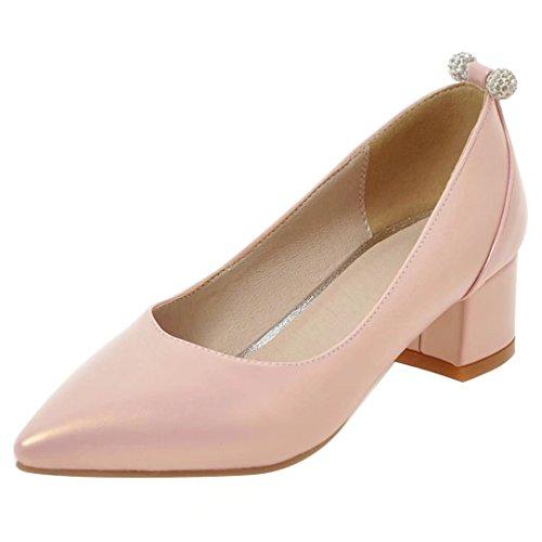 AIYOUMEI Damen Frühling Sommer Blockabsatz Pumps mit 4cm Absatz und Strass Chunky Heel Schuhe