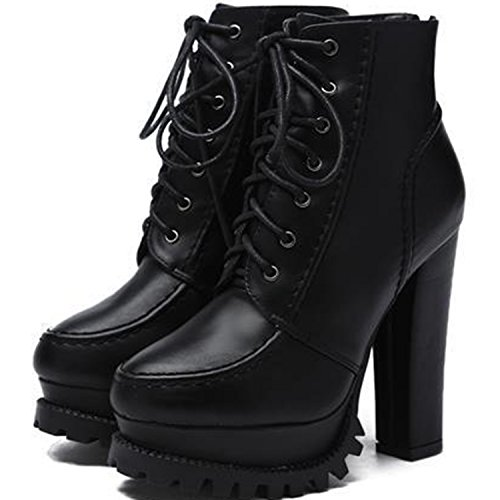 Oasap Women's Lace-up Platform Chunky High Heel Ankle Boots Black