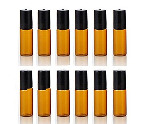 123ml nachfüllbar Bernstein Glas Flaschen mit Kugeln und schwarze Kappen für ätherisches Öl leer Aromatherapie Parfüm Flaschen -