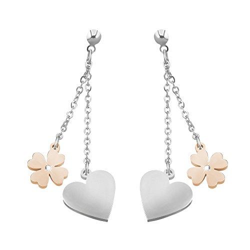 Stroili - Orecchini cuore e quadrifoglio in acciaio bicolore e cristalli per Donna - Lady Chic
