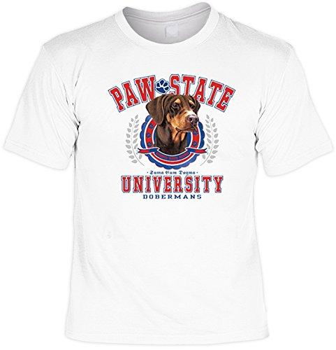 T-Shirt cooles Fun Shirt weiss für Hundefreunde Motiv Dobermann Paw State, ideales Geschenk, für Herren Frauen Weiß