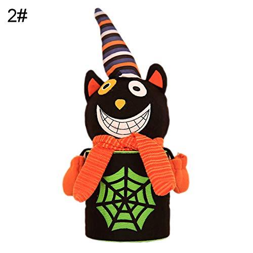 Lai-LYQ Halloween Geschenkbeutel Kürbis Ghost Doll Kinder Süßigkeitentasche Aufbewahrungsbox Ornament Partys Supplies Black - Big Cat Ghost Kostüm