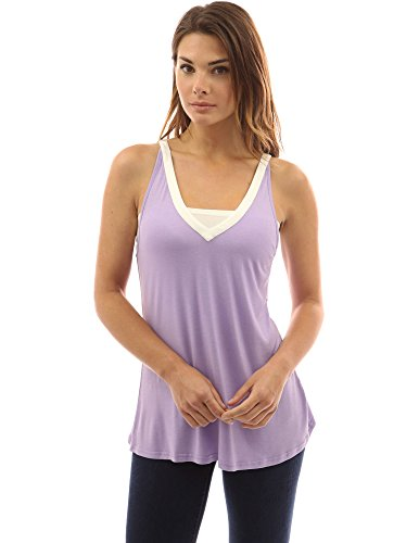 PattyBoutik femmes fluide blouse à col V sans manches violet clair et ivoire