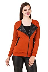 Texco full sleeve rust winter jacket with black leather lapel collar