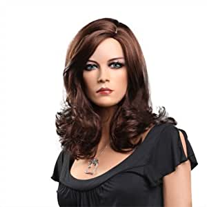 Women's New Style Nature Dark Brown Short Curly Big Wave Dress Party Wigs Halloween Costume Cosplay Hair Extensions