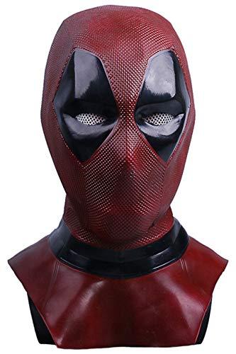 Xiemushop Maske Latex Head Face Helm Film Wade Wilson Cosplay Kostüm Kleidung Replik für Herren Party Kostüm Zubehör (Replik Kostüm)