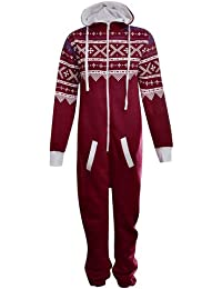 UNISEX MENS WOMENS AZTEC PRINT ONESIE ZIP UP ALL IN ONE HOODED JUMPSUIT S M L XL (LARGE, Wine)