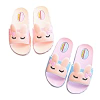 IUU Mom-Baby Slippers Cute Girl Rabbit Sandals Bath Slippers Non-Slip Slippers House Slippers Beach Flip-Flops