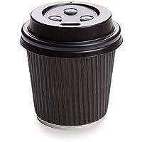 Becher mit schwarzem Deckel, geriffelt, 113 ml, 25 Stück – 250 Stück
