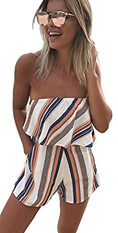 Longwu Off Shoulder Sleeveless Dress Overlay Romper Playsuit Short Jumpsuit Orange-L