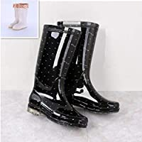 HDDTDYX Rain Boots,Women Polka Dot Rainboots Pvc Waterproof Water Shoes Outdoors Wellies Non-Slip Warm Knee-High Winter Warm Rain Boots
