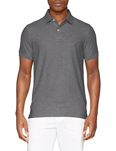 50/2 Performance Polo S/s RF, Polo para Hombre, Marrón (Charcoal Htr), Small Tommy Hilfiger