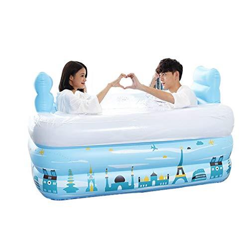 Yqbath vasca da bagno gonfiabile, bagno caldo adulto spesso pieghevole con copertura termica con pompa d'aria opzionale, 150 * 112 * 50cm (colore: blu) (stile : 1.5m-electric pump)