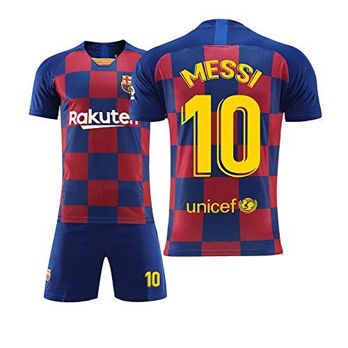 WWJIE Barcelona Trikot, 18-19, Messi 10, Fußballanzug, männlicher Erwachsener, Barcelona Uniform, Trainingsanzug-8-XXXXS