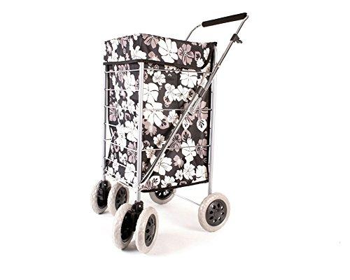 Alexander Graham Einkaufstrolley - 6 Große Räder Herausnehmbare Tasche - Schwarz mit Weißen Blüten