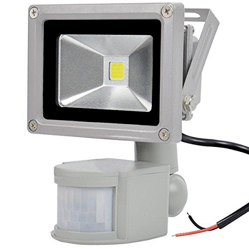 GLW 12V AC/DC 10W LED Bewegungssensor Flutlicht,Mini IP65 Wasserdichtes Außenlicht,900LM,6000k,Tageslichtweiß Sicherheitslicht mit PIR,Kein Stecker,80W Halogenbirne Gleichwertig