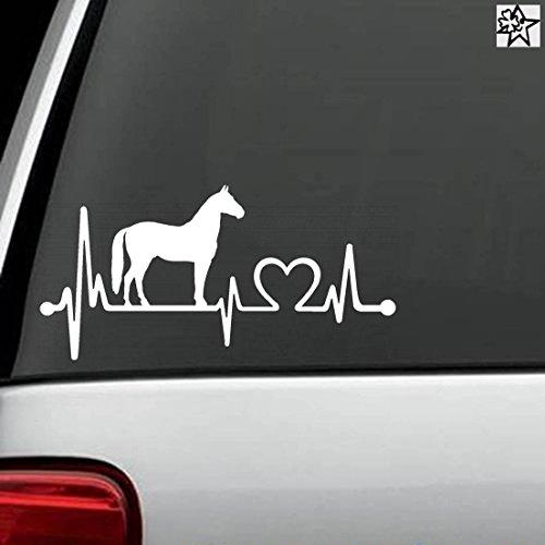 Preisvergleich Produktbild Herzschlag Aufkleber pferde Pferd Horse 30cm Sticker Herz Fan Hobby Leidenschaft Liebe für Auto Autoaufkleber
