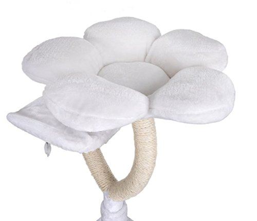 White Blossom Cat Tree Medium - Elegant with Two Platforms and Sisal-Covered Metal Posts - Offers your Cats A Place to… 4