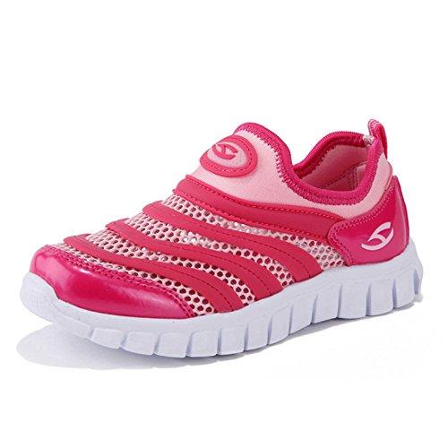 Unisex-Kinder Frühling und Sommer Runde Zehen Mesh Atmungsaktive Slip On Sanfte Jungen und Mädchen Lässige Schnürsenkel Sportliche Sneakers Rot