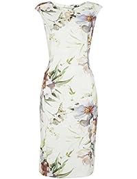 Roman Originals Femme Robe Pastel à Fleurs Tailles 38-50 Crème