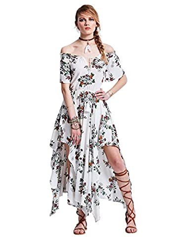 Bohoartist White Chiffon Lace up Slash Neck Off shoulder Half Sleeve Floral Print Women's Maxi Dress (M)