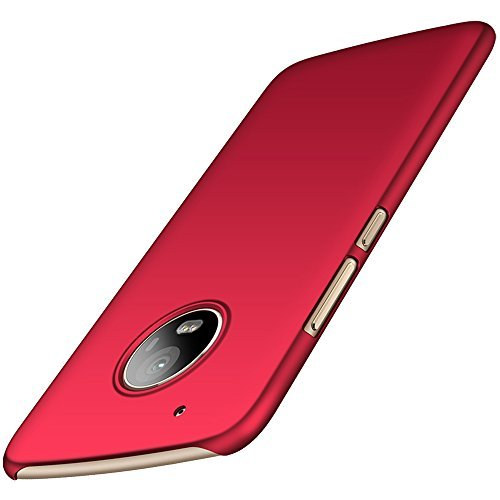 anccer Motorola Moto G5 Plus Hülle, [Serie Matte] Elastische Schockabsorption und Ultra Thin Design für Moto G5 Plus (Nicht für Moto G5S Plus)-Glattes Rot