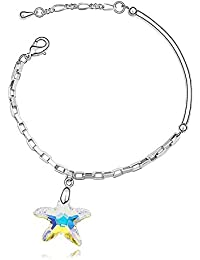 Silver Crystal Diamond Accent Starfish Sea star Bracelet Made with Swarovski Crystal, with a Gift Box