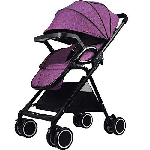 TZZ Kinderwagen Compact Leichte Kinderwagen mit Anti-Shock Federn Newborn Einstellbarer High View Pram Baby Carriage Buggy (Farbe : Lila)