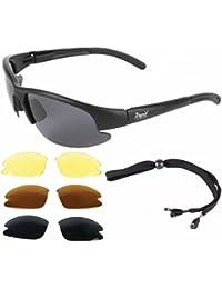'Aurora' Silber Grau Sonnenbrille Für Piloten und Sport mit Wechselgläser. UV schütz 400. Für Herren und Damen