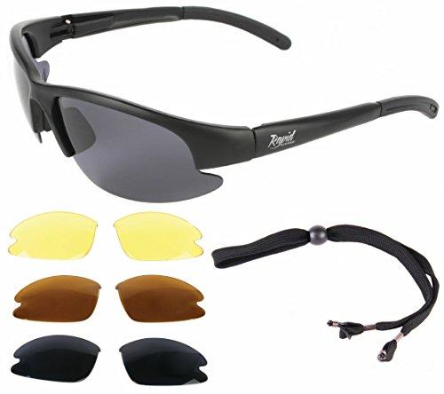 Rapid Eyewear Brille: 'Nimbus' SPORTBRILLE mit Polarisiert Wechselgläser für Damen und Herren. UV schutz 400 Sonnenbrille. Sehr dunkle Linsen enthalten